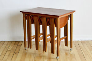 Nesting Table and Stools Teak Mid Century on Sliver Casters by G