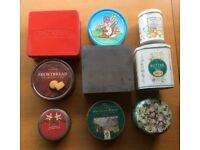 9x Assorted Decorative Vintage Biscuit Tins