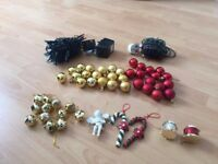 Mixed small tree decorations & 2 sets of Christmas lights