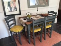 Rustic Dining Table and Chairs Reuphostered in Orla Kiely Print Fabric
