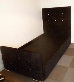 Black Fabric Upholstered Storage Single 3FT Bed