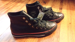 Brand New Black Leather Converse High Top Sneakers