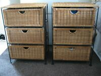 2 Wicker Style Chest of Drawers, Metal Frame in Good Condition.