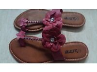 New Ladies Womens Lovely Floral Red Sandals Shoes size 7/40