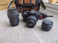 Pentax K-X 12.4MP Digital SLR Camera with 3 lenses & bag - Excellent condition