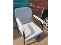 Grey Vinyl padded chairs . Reception chairs , care home chairs patients chairs