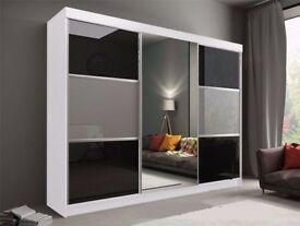 🔥💥🚚** 2 OR 3 WARDROBE'' **🔥💥- BRAND NEW GERMAN RUMBA 2 Door Sliding Wardrobe in Black Or White