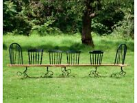 Bespoke handcrafted green sweet-chestnut bench. Seats 6 people.Suitable for outdoor and indoor use.