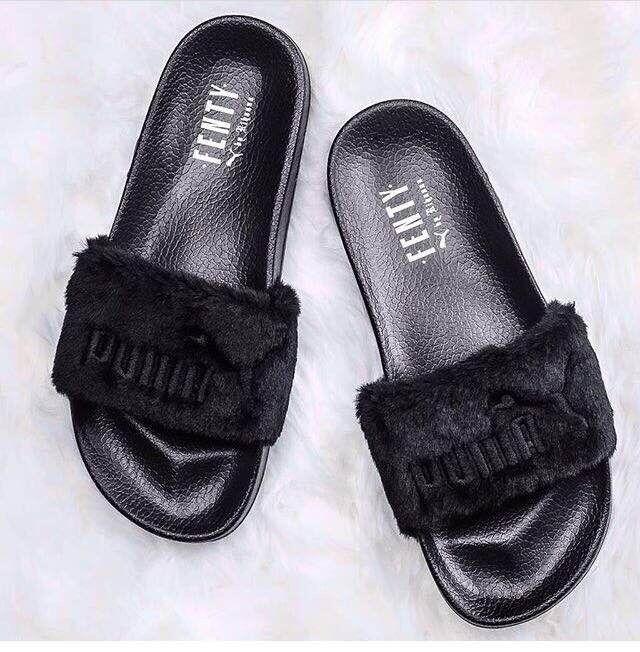 BLACK NEW Rihanna Fenty PUMA Fury Pool Slides FREE NEXT DAY DELIVERY 8412a66a0