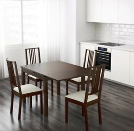 IKEA Chocolate Brown Extendable Table Chairs