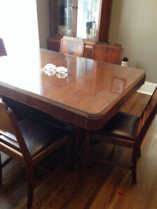 Table, 6 chairs, buffet and china cabinet