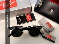 Best rayban clubmaster men's women's sunglasses new box bag gold black