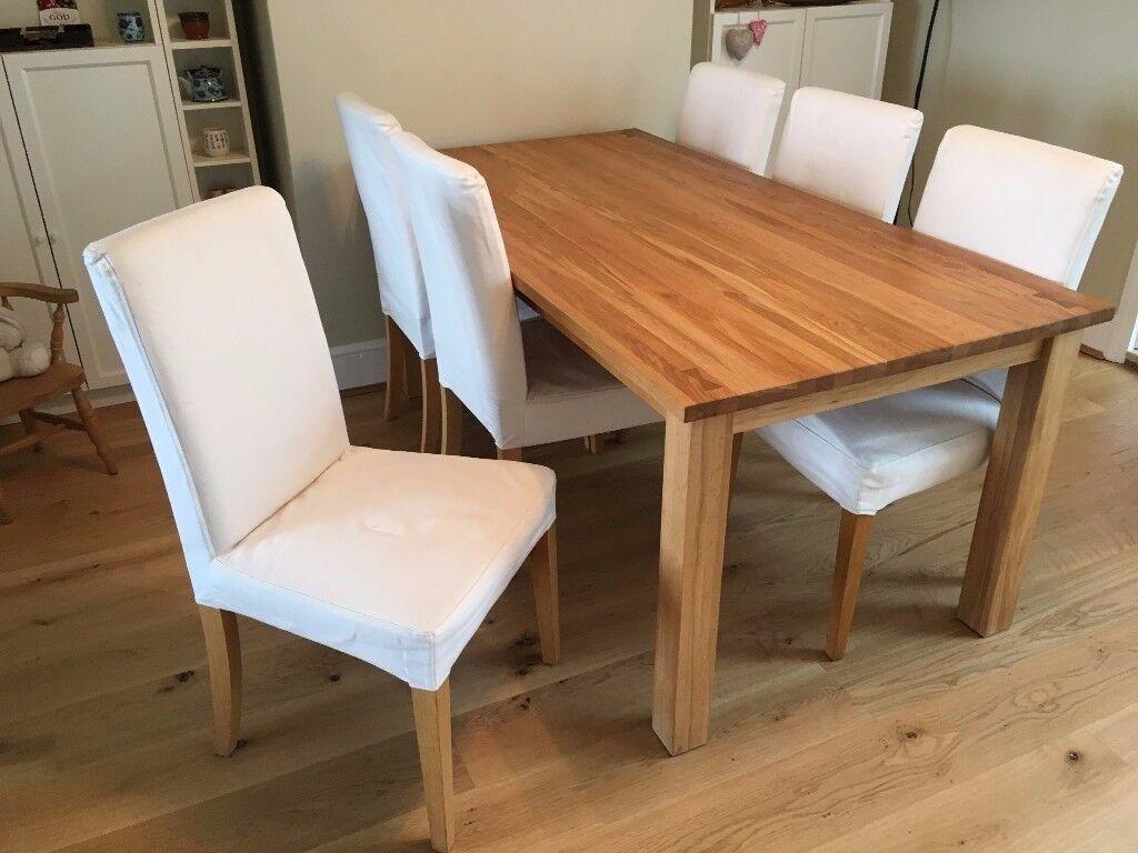 Six Ikea Henriksdal Oak Dining Chairs With Grasbo White