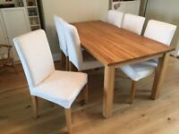 Six Ikea Henriksdal Oak Dining Chairs with Grasbo White washable seat covers