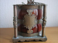 ANTIQUE CHINESE WHITE COPPER & RED GLASS TEA POT WITH APPLIED DECORATION