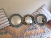 3x porthole mirrors round vintage port hole convex