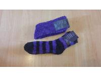 NWT Two Pairs of Womens Soft Fluffy Socks - Purple & Black