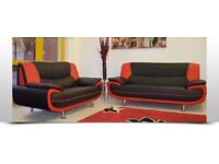 LIMITED STOCK AVAILABLE--NEW CAROL FAUX LEATHER 3 +2 SEATER SOFA ! RED AND BLACK OR WHITE & BLACK