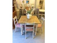 Refurbished Antique oak table & 4 chairs