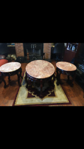 3 piece marble coffee table set + carpet for sale!