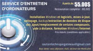 Service d'entretiens d'ordinateurs et formation
