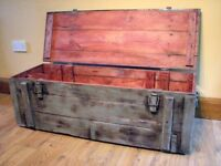 Military Box Trunk Storage Wooden Rustic Coffee Table Chest Painted - grey