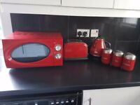Red microwave toaster and kettle set
