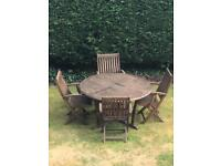 Solid wood 4 seater garden table and chairs inc cushions