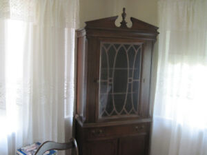 Walnut China Cabinet & Dining Room Set for Sale