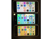 iPhone 5c 16GB Unlocked Blue, Yellow, White