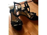 Ladies Sandals, Brand New, Black & Gold, Size 5