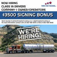 Class 1A Company Driver & Owner/Operator *** $3500 SIGNING BONUS