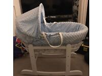 Blue dimple Moses basket and rocking stand