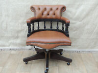 Traditional captains brown chair Chesterfield (Delivery)