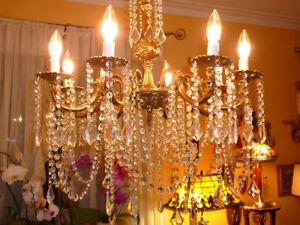 lustre chandelier 8x antique/1950 Louis XVI bronze cristal 2800$