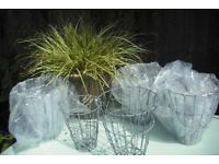 8 new and unused tall, wire hanging planters