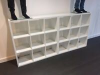 2x White Wooden Shelving Storage Rack Shop Fitting Retail Display Stand Unit - VGC