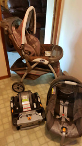Chicco stroller, base, and car seat
