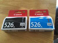 Canon 526 BK and C printer cartridges