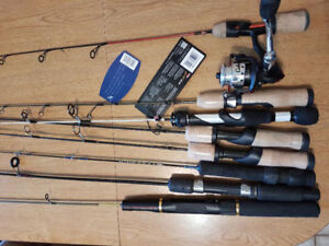 8 Brand new Ice fishing rods for sale, 1 with a reel