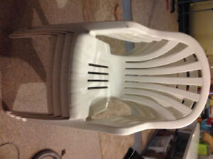 white Plastic Patio Table and 8 chairs