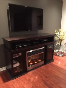 Electronic component unit with electric fireplace