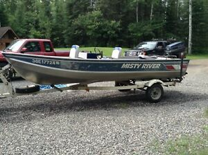 16 'Misty River Boat and 50 hp Evinrude motor Calkins trailer