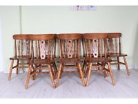 DELIVERY OPTIONS - 8 SOLID PINE FARMHOUSE CHAIRS RUSTIC SOLID STUDY