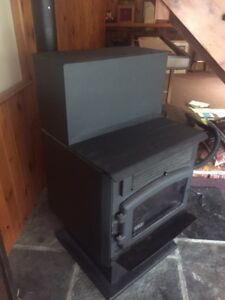 Drolet ECO 45 pellet stove with hopper extension & stove pipe.