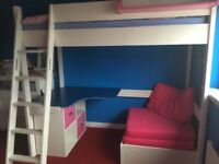 Stomp high sleeper with chair bed and desk