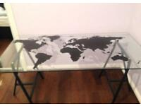 Large Glass World Map Desk