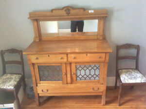 Beautiful antique sideboard cabinet with glass doors