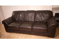 2 DARK BROWN DESIGNER LEATHER SOFAS - Can Deliver within Edinburgh (Small cat scratched corner!)