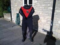 Ladies Typhoon Seamist neoprene drysuit Size 12, Size 6 boots
